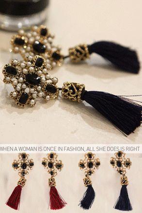 Tasseled Baroque Cross Earrings
