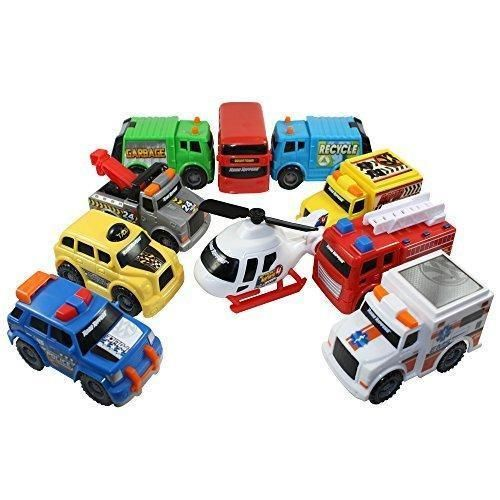 Toy State Emergency City Vehicles set of 10- Police Fire Truck Ambulance