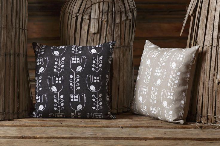 Mustikkakukko (Blueberry Rooster) cushion | Design by Riikka Kaartilanmäki
