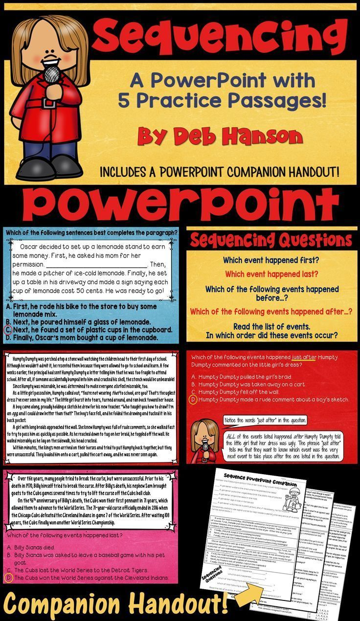 Sequencing PowerPoint for Reading Comprehension | Reading | Pinterest