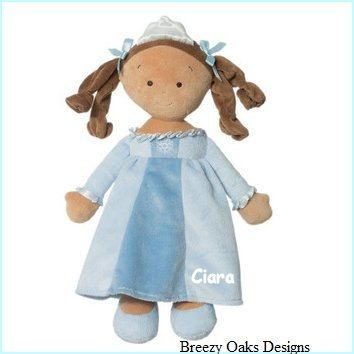 "Personalized Cloth Baby Doll, First Doll, 14"" Rag Doll, Shower Gift, Toddler Doll, Princess Doll, Tan Skim,Cloth Doll, Toy Doll, Safe Gift"