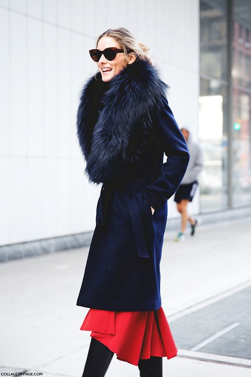 Olivia Palermo: blue & red