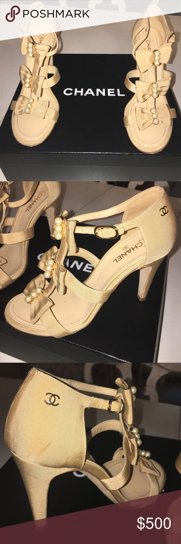 Authentic Chanel heels Authentic Chanel heels. Color is cream with cream bows and pearls one little stain on the side wore three times CHANEL Shoes Heels