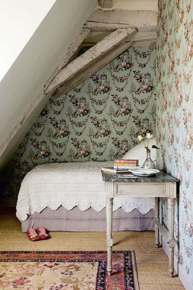 A tiny bedroom under the eaves. So cozy.