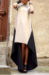 Trendy Stand Collar Color Block Asymmetric Maix Dress For Women (AS THE PICTURE,XL) | Sammydress.com Mobile