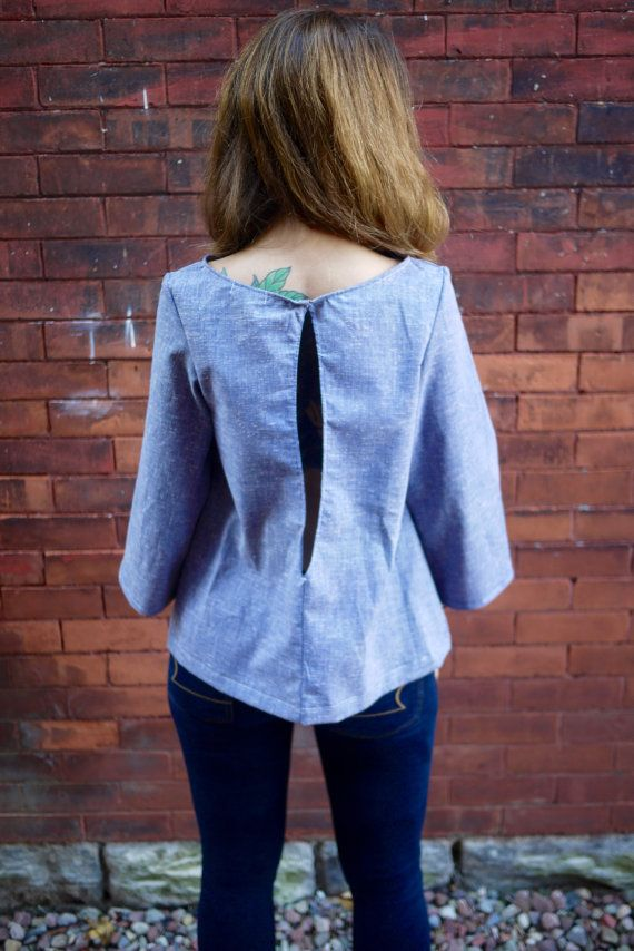 Blue Mod TopOpen Back ShirtLong Sleeve by Clementinyclothing
