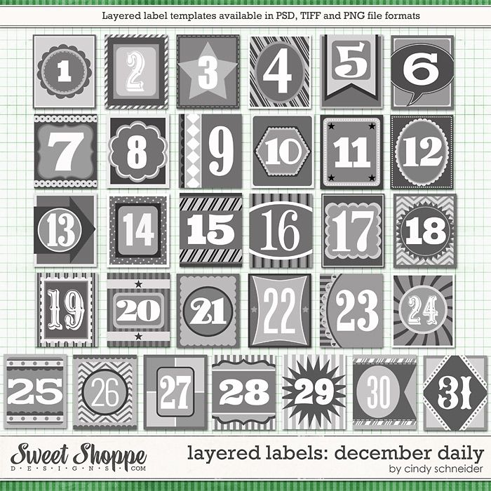 Cindy's Templates: Layered Labels - December Daily