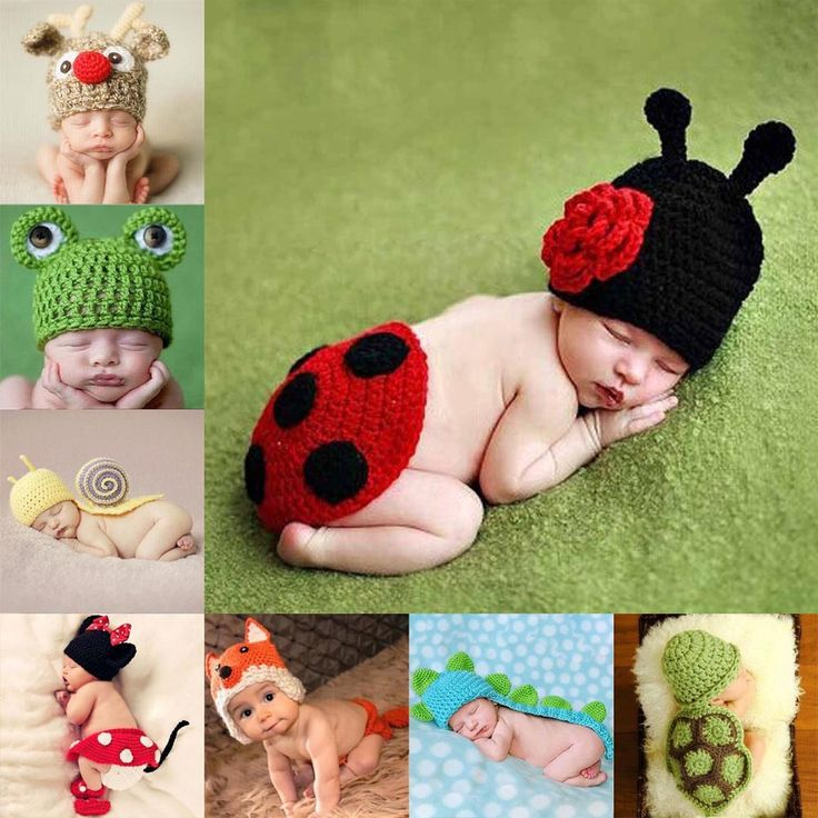 Baby Beanie Costume Animal Hats Caps Sets New Born Baby Girls Boys Crochet Knit Costume Clothes Photo Photography Prop Hat