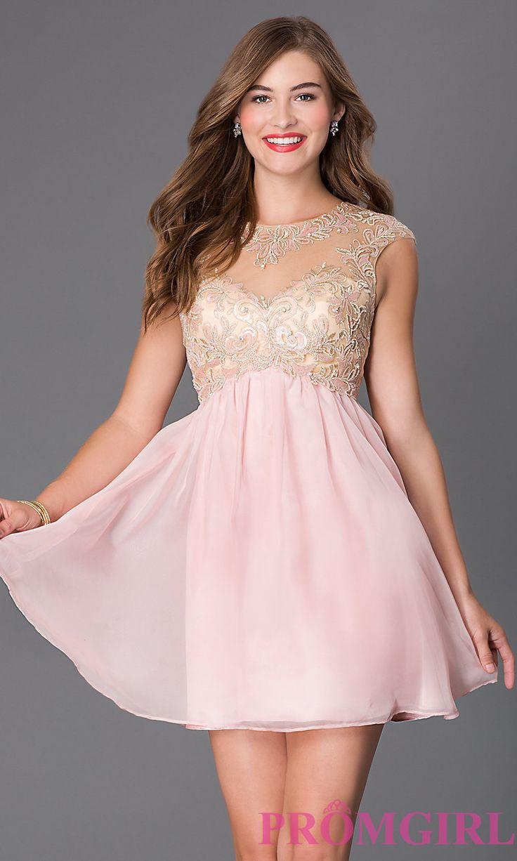Short cap sleeve lace embellished prom dress