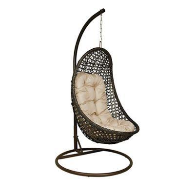 Debenhams Dark brown rattan-effect 'LA Malibu' garden hanging chair  Was £430.00 Now £301.00