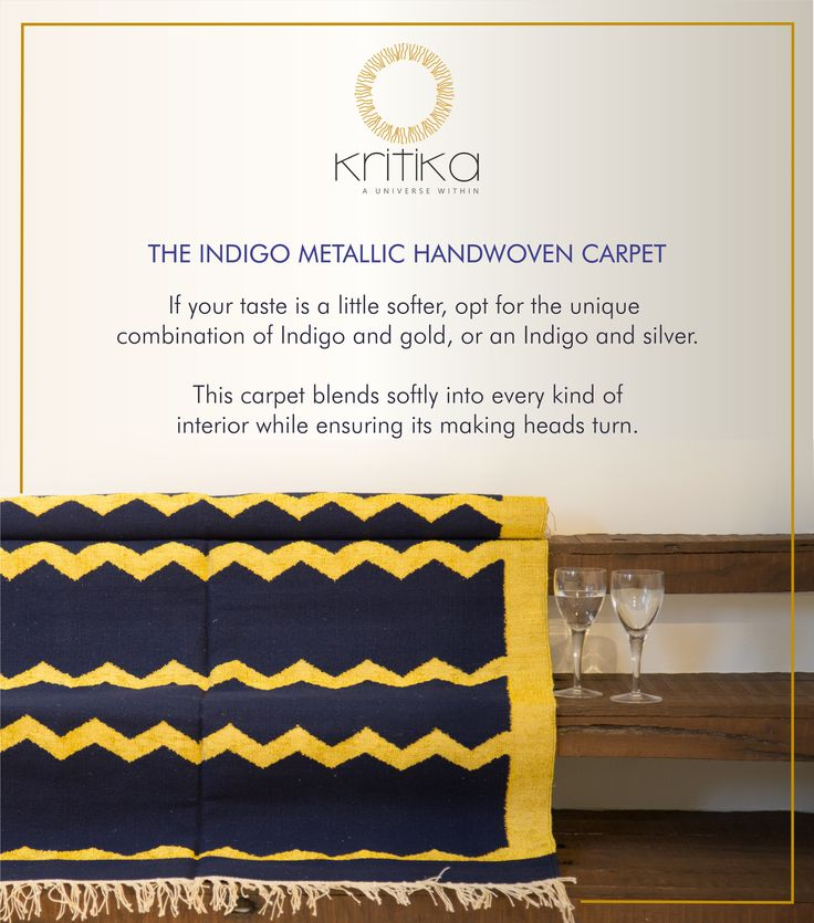 THE INDIGO METALLIC HANDWOVEN CARPET  If your taste is a little softer, opt for the unique combination of Indigo and gold, or an indigo and silver. This carpet blends softly into every kind of interior while ensuring its making heads turn. Connect on +91 9820530692 / 9820530664 or mail on sonal@kritikauniverse.com ‪#‎kritikauniverse‬ ‪#‎indigo‬ ‪#‎gold‬ ‪#‎silver‬ ‪#‎metallic‬ ‪#‎handwoven‬ ‪#‎carpet‬