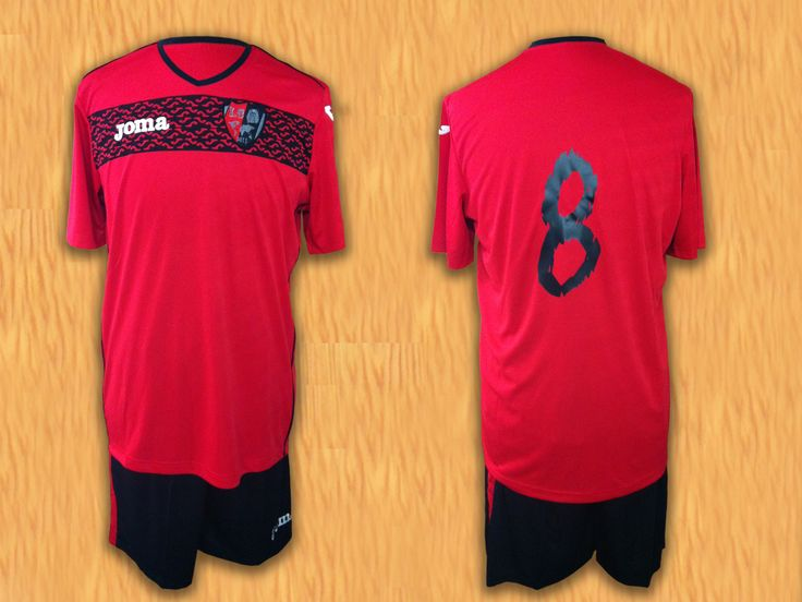 Equipación Joma #Fútbol realizada en EasoSport. Además del bordado del escudo, destacar la originalidad de los números