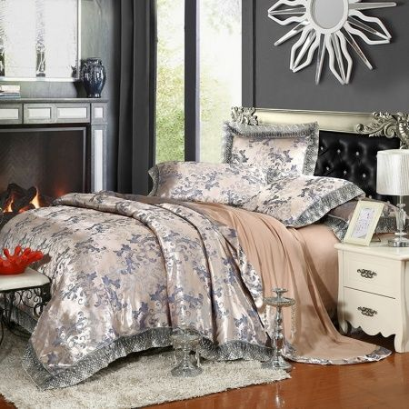 Silver Grey and Camel Retro Scroll Pattern Bling Shabby Chic Old Fashion Boutique Jacquard Satin Full, Queen Size Bedding Sets
