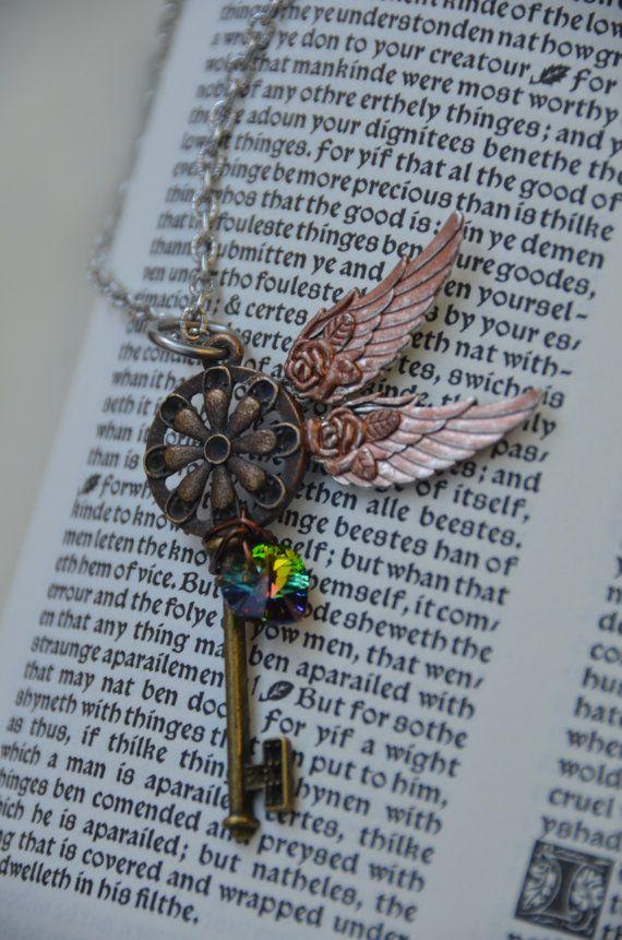 Steampunk Winged Crystal Key by GeekAtHeartShop on Etsy, $15.00