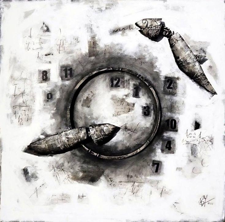 Beppo Zuccheri www.beppozuccheri.com - (Gnostic Fishes) Pesci Gnostici - 2014 Cm 100x100 / Mixed media on board