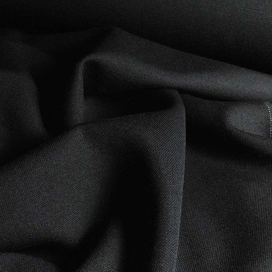 abric option 3 / Italian 100% Pure New Wool Black Crepe like Fabric