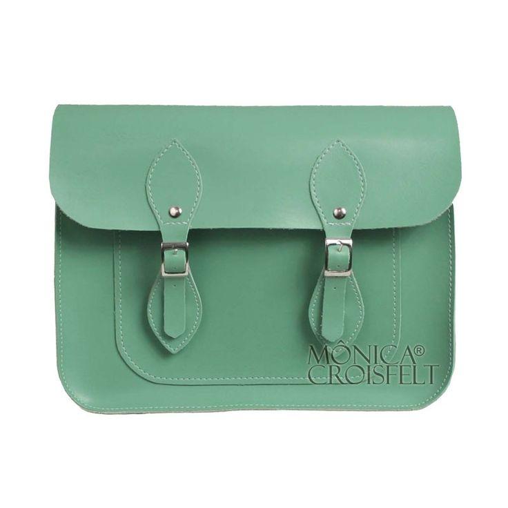 Bolsa Croisfelt Satchel Feminina Carteiro, Verde Mate Menta 11'' Retro Vintage Design Transversal #itbag #fashion #moda