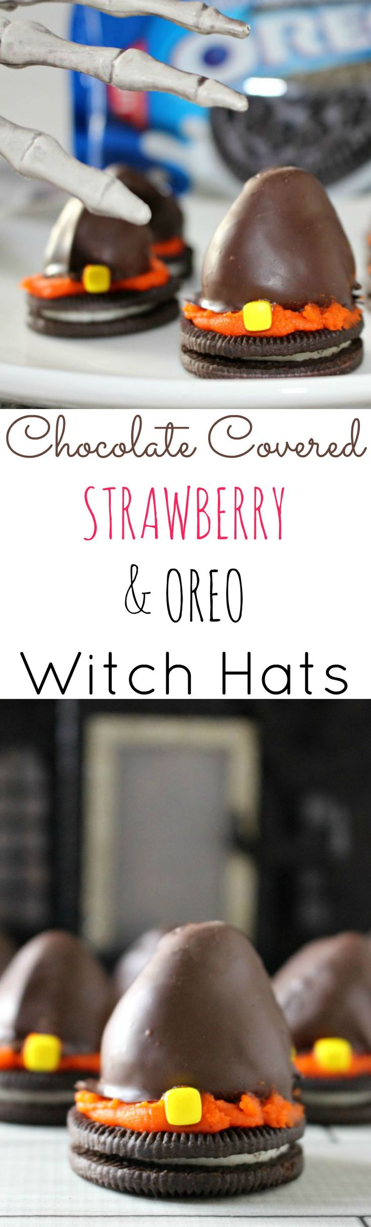 Chocolate Covered Strawberry & Oreo Witch Hats - a super easy Halloween Treat! #SpookySnackLab