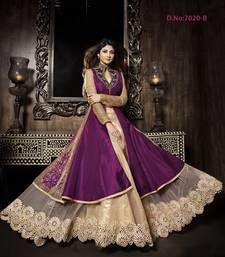 Buy Black silk embroidered semi  stitched salwar with dupatta collar-neck-design online