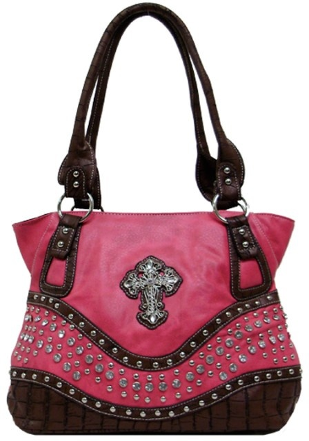 """Western Purse Shoulder Bag with Bling Cross 13"""" x 8"""" x 5"""" Black, Hot Pink, Brown or Turquoise"""