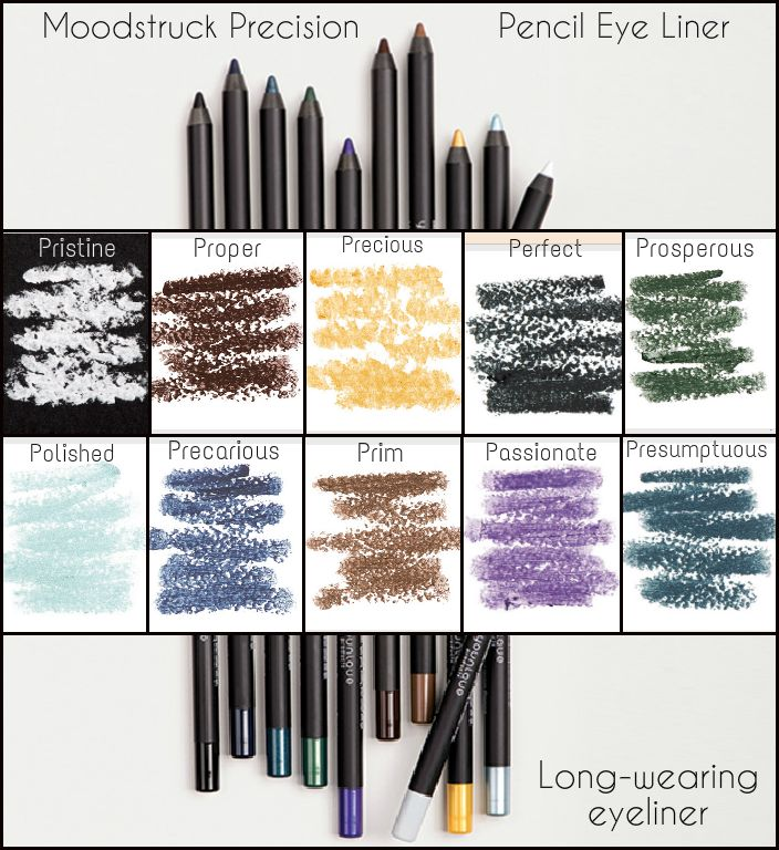 Moodstruck Precision Pencil Eye Liner by Younique won't smear lasts all day!! Moodstruck Precision Pencils - for Eyes I recommend Perfect (Black), Proper (Dark Brown), Prim (light brown - perfect for brows), and Passionate (a pretty purple pop for Spring/Summer) https://www.youniqueproducts.com/gemmaclairebrown