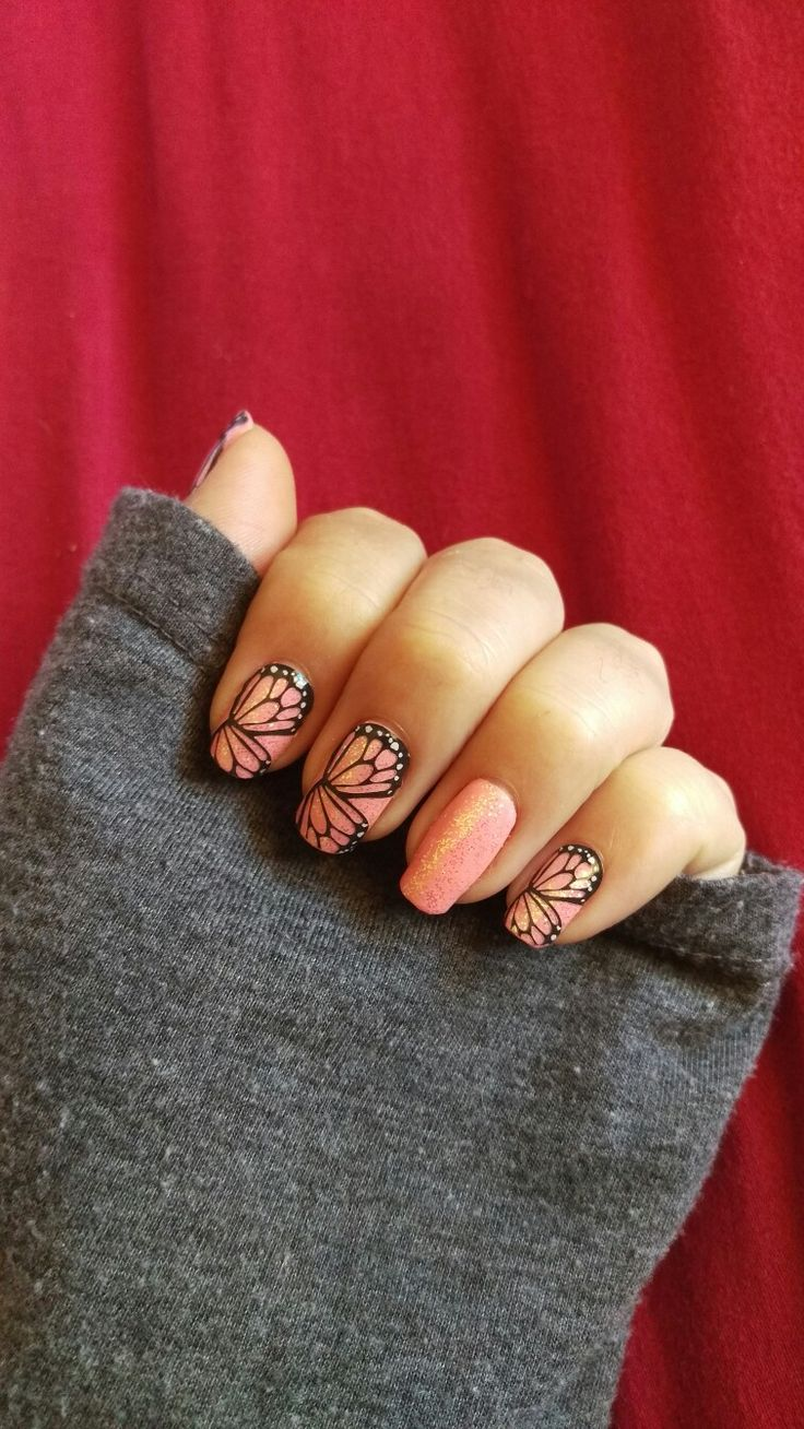 Jamberry ' pink lemonade' lacquer topped with 'bachelorette' TruShine gel and layered with ' butterfly dreams' wrap