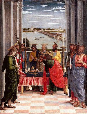 Autor: Andrea Mantegna (Italia) Título: Tránsito de la Virgen Cronología: 1461 Técnica: Témpera sobre panel Medidas: 54 cm x 42 cm Escuela: Renacimiento Tema: Religión