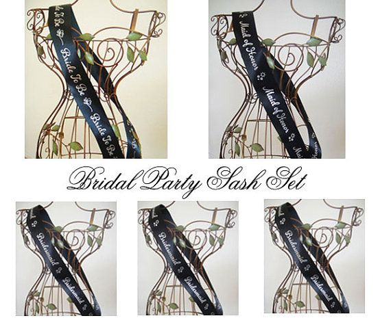 Bridal Party Sash Set  Black with Silver Print by regalribbons, $35.00