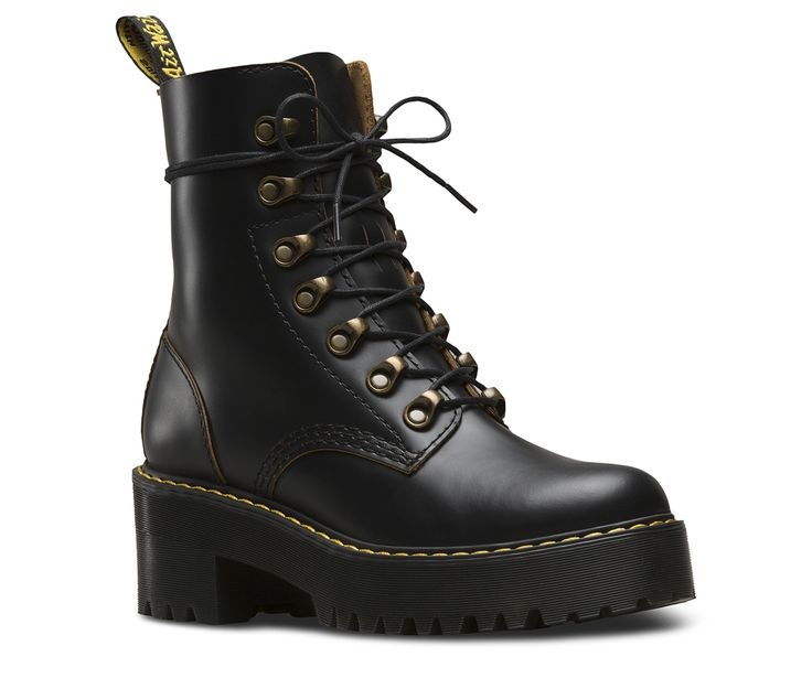 The Leona is packed with rugged features: a commando tread, an extra-empowering platform sole with a chunky heel, antiqued brass tunnel eyelets and a sleek silhouette. The result? A women's boot that strikes the perfect balance between femininity and the tough, rebellious Dr. Martens spirit. Made with Vintage Smooth, a retro version of our signature smooth leather with subtle grained effect and contrast base color Built on the rebelliously comfortable Dr. Martens Airwair™ air-cushioned so...
