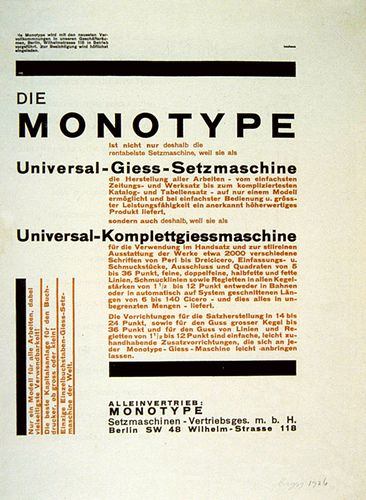 Monotype advertisement (1926) for it's Universal typesetting machine, designed by Herbert Bayer.