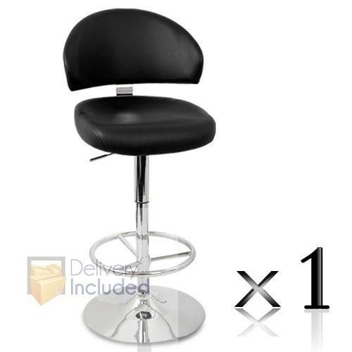 1 x PU Leather Bar Stool - Black
