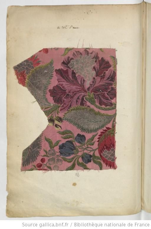 * Etoffes de Lyon // 1736 Brocart vieux rose - Echantillons d'étoffes et de rubans recueillis par le Maréchal de Richelieu