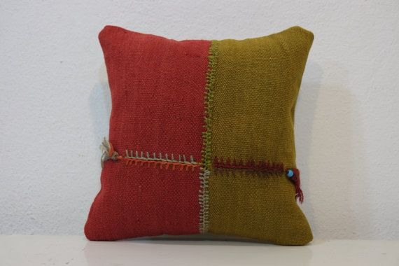 Organic wool Historic Old red green pillow Retro Pillow by kilimci