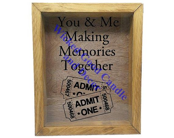 """Wooden Shadow Box Ticket Holder 9""""x11"""" - You and Me Making Memories Together with Tickets"""