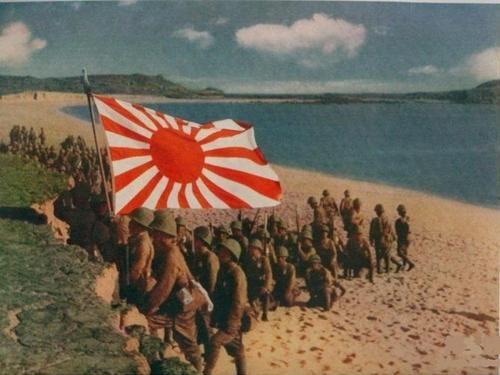 Japanese soldiers landing in the dutch east indies