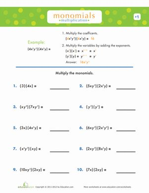 Printables Monomials Worksheet multiplying and dividing monomials worksheet davezan bloggakuten