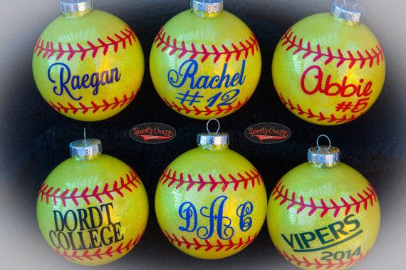 Hey, I found this really awesome Etsy listing at https://www.etsy.com/listing/168728617/softball-ornament