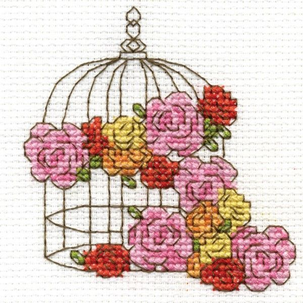 Floral Birdcage Mini Cross Stitch Kit - Cross Stitch Kits I Love Cross Stitch 7.5 x 7.5 £2.99