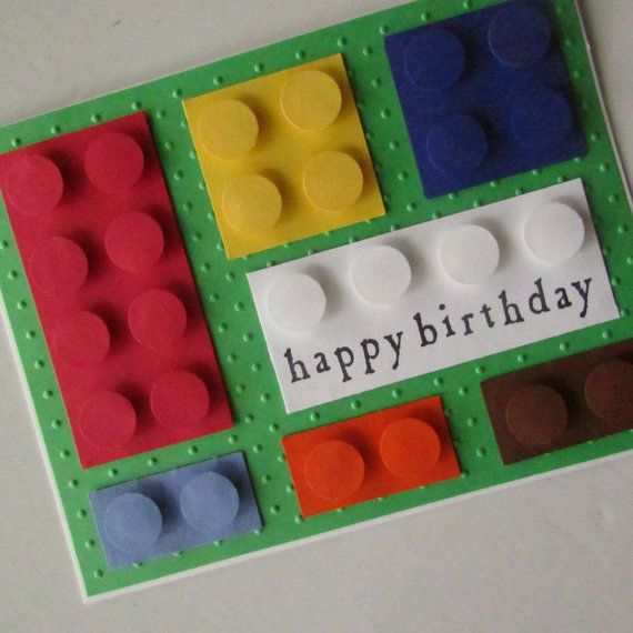 Boys birthday card with LEGO bricks by koensmir on Etsy, $3.50