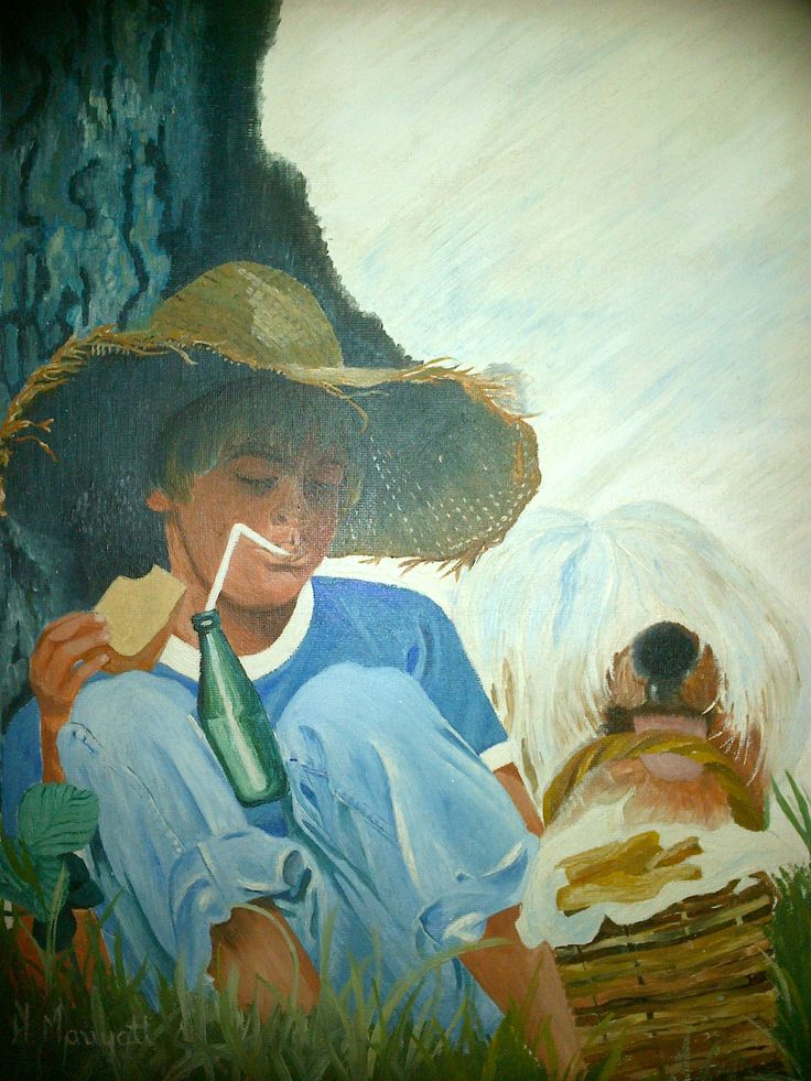 Picnic with my dog.     Artist>   Hester Marryatt                A copy of an advertisement I painted many years ago.