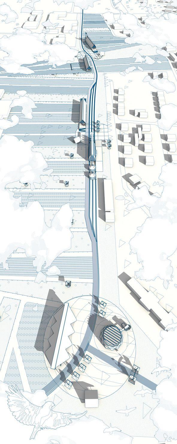 Uma imagem aerea mostrando em 3D um eixo. Pode ser a manoel elias ou a boulevard que desce