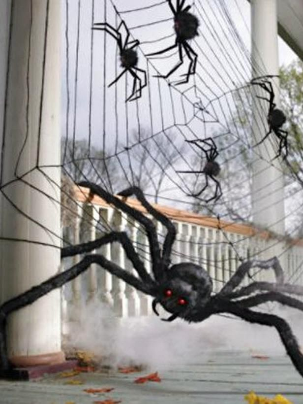 halloween spiderweb and set of two spiders from grandinroad