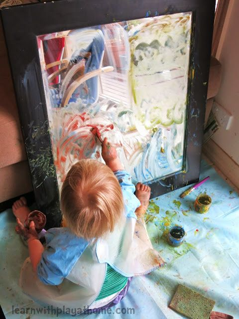 Learn with Play at home: Exploring Paint on a Mirror-certainly not clean but would keep then busy for a longer time.