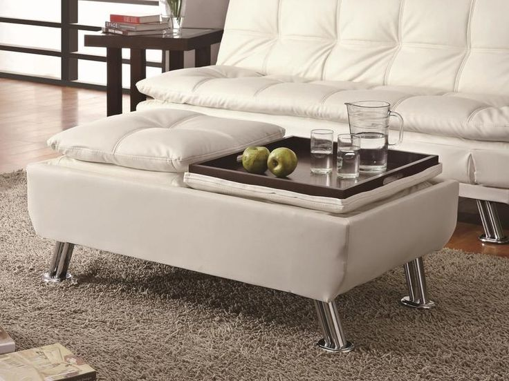 Off White Faux Leather Storage Ottoman W Reversible Trays By Coaster Http