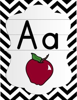 Alphabet Posters - Black and White Chevron with Color Pictures.
