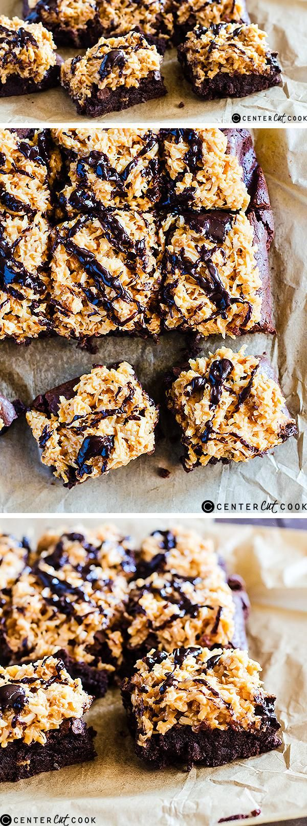 Rich FUDGY BROWNIES are topped with an irresistible caramel coconut topping to recreate your favorite Girl Scout cookie in brownie form. These SAMOA brownies are easy to make and are a true crowd pleaser!