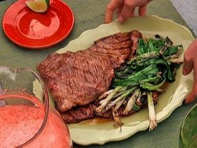 Beer marinated grilled skirt steak