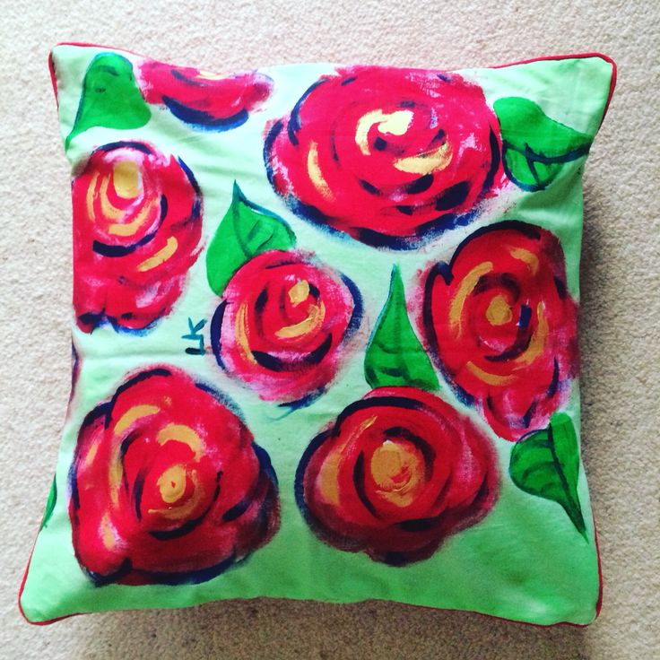 My red rose decorative cushion pillow cover www.louisemkent.etsy.com