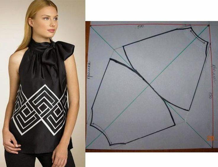 Blusa de laço fácil de cortar e confeccionar. O plano de corte ajuda a confeccionar este modelo. Este modelo é prático e versátil, porque tanto veste bem à