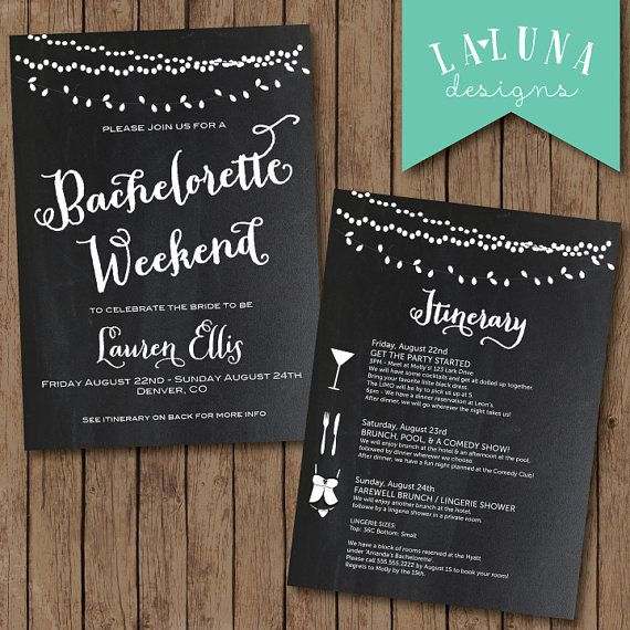 Bachelorette Party Invitation with Itinerary, Bachelorette Weekend Invitation, Chalkboard Bachelorette Invitation, Hens Party Invitation